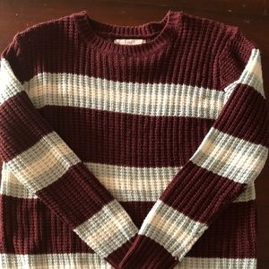 Sweater maroon with stripes